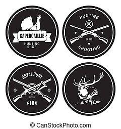 magasin, vendange, emblèmes, chasse