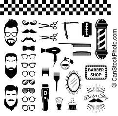 magasin, vendange, ensemble, coiffeur, articles