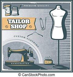 magasin, vendange, tailleur, affiche