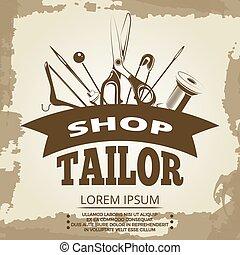 magasin, vendange, tailleur, conception, étiquette