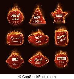 magasin, vendredi, brûlé, icônes, promo, offre, vente,...
