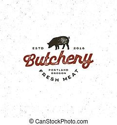 magasin, viande, vendange, boucherie, illustration, emblem., vecteur, retro, appelé, logo.