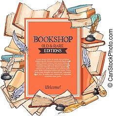 magasin, vieux, affiche, vecteur, livres, rare