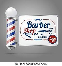 magasin, vieux, réaliste, vendange, signe., -, verre, poteau, vecteur, coiffeur, façonné, argent
