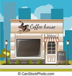 magasin, ville, café, façade