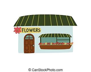 magasin, ville, fleur, public, illustration, dessin animé, petit, vecteur, devant, bâtiment, vue
