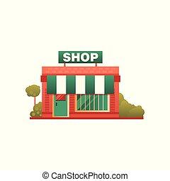 magasin, ville, illustration, bâtiment, petit, vecteur, fond, devant, blanc, public, vue