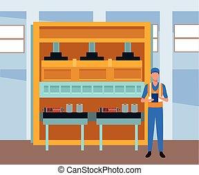 magasin, voiture, debout, paysage, parties, réparation, mécanicien