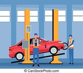 magasin, voiture, debout, paysage, soulevé, réparation, mécanicien