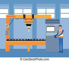magasin, voiture, machines, debout, paysage, réparation, mécanicien