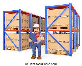 magasinier, vérification, entrepôt, palettes, 3d