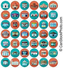 magasins, bâtiments, ensemble, ville, plat