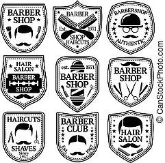 magasins, coiffeur, ensemble, etc., vecteur, étiquettes