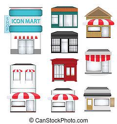 magasins, ensemble, dessin animé