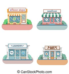 magasins, façade, ensemble, icons., vecteur, conception, ...