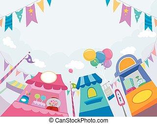 magasins, parc thème, bonbon