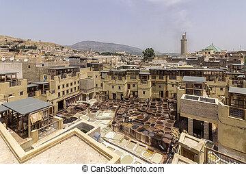 magasvasút, ősi, bali, város, megkorbácsol, tanneries, cserépáru, terasz, hagyományos, láthatár, medina, fes, festeni, fez, kilátás