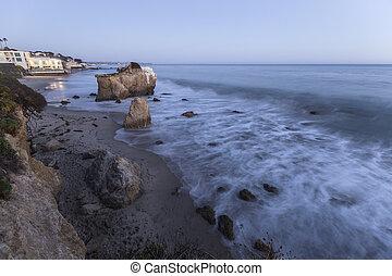 magasvasút, malibu, szürkület, állam, kalifornia, tengerpart, matador