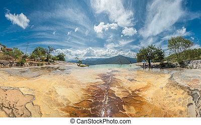 magasvasút, természetes, kő képződés, hierve, állam, oaxaca, agua, mexikói