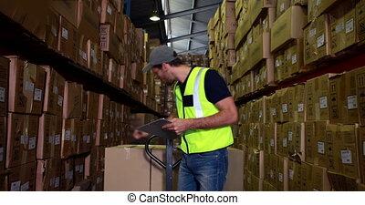 magazijn, arbeider, controleren, zijn, lijst