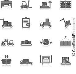 magazijn, black , iconen