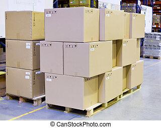 magazijn, dozen, karton, opslag