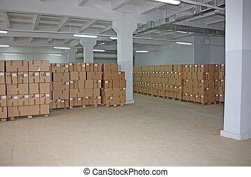 magazijn, dozen, karton