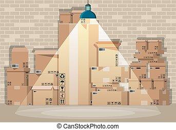 magazijn, dozen, set, stapel, karton