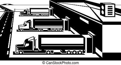 magazijn, inlading, vrachtwagens, goederen