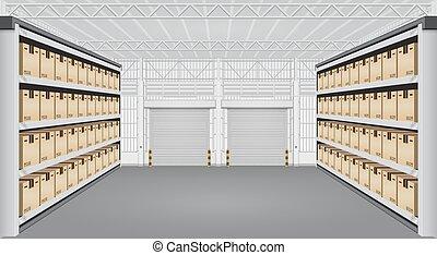 magazijn, interieur, vector