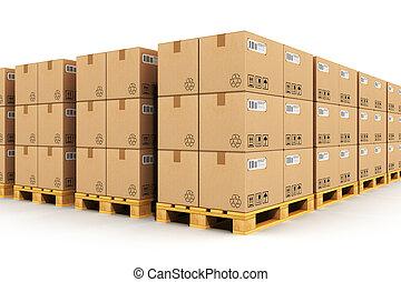 magazijn, met, cardbaord, dozen, op, expeditie, pallets