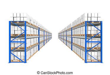 magazijn, planken, 2, rows., onderdeel van, een, blauwe ,...