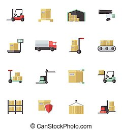 magazijn, plat, set, iconen