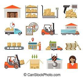 magazijn, set, vervoer