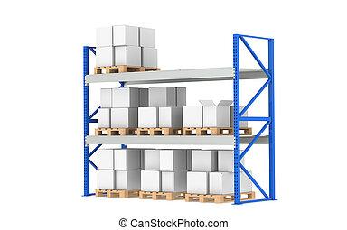 magazijn, shelves., milieu, liggen, level., onderdeel van,...