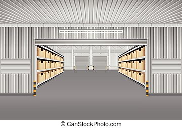 magazijn, vector, achtergrond