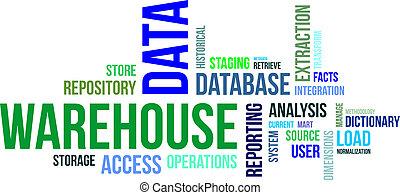 magazijn, woord, -, wolk, data