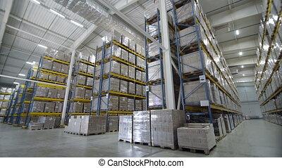 magazijnen, groot, logistiek, handel, structuur, met, dozen,...