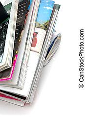 magazine, closeup, pile