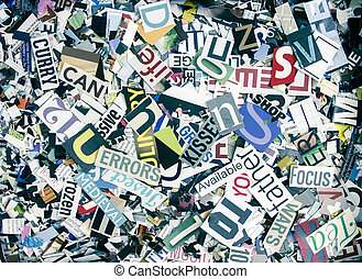 magazine confetti background random letters and words