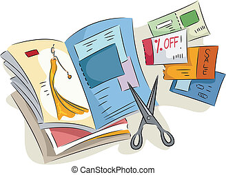 Magazine Coupons - Illustration of Discount Coupons Cut from...