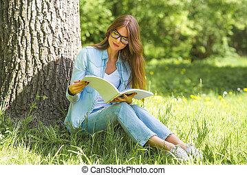 magazine, femme, parc