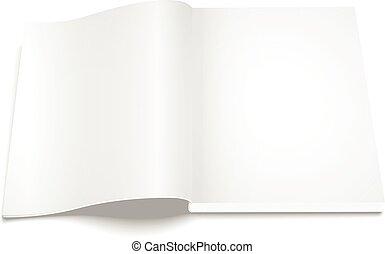 magazine, fond, vide, gabarit, blanc, ouvert