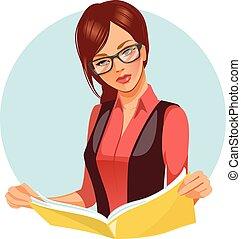 magazine., kvinna läsning