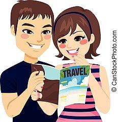 magazine, lecture, couple, voyage