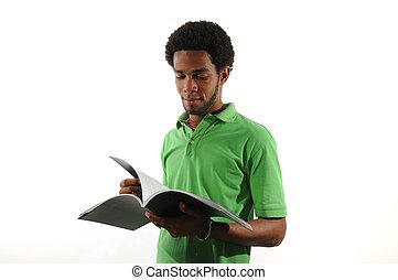 magazine, lezende , jonge man, afrikaan