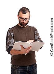 magazine, lezende , jonge man