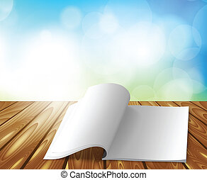 Magazine on wooden table. Bright illustration