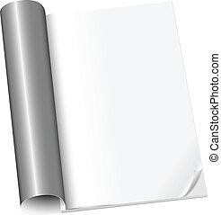 magazine, pagina, geopend, eerst, leeg