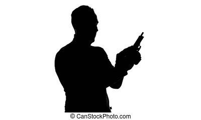 magazine, silhouette, vidéo, handgun's, homme
